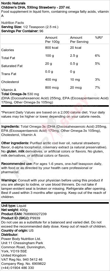 Children's DHA, 530mg Strawberry - 237 ml.