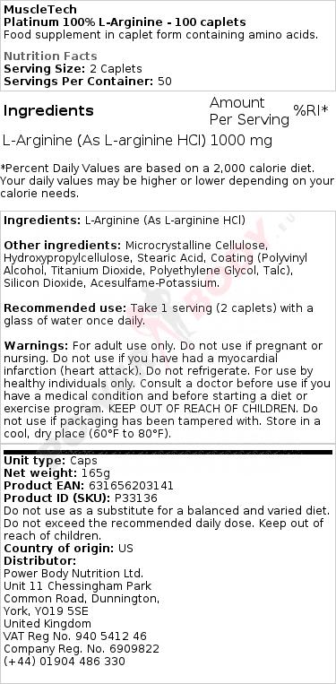Platinum 100% L-Arginine - 100 caplets