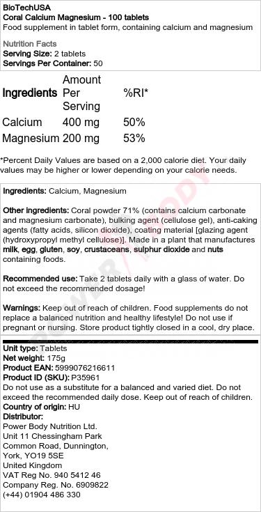 Coral Calcium Magnesium - 100 comprimés